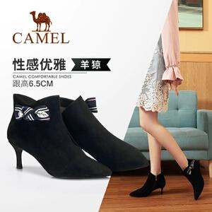 骆驼女鞋2018冬季新款短靴 韩版小跟短靴女瘦瘦靴休闲细跟女靴
