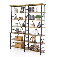 美式铁艺书架层架置物架客厅收纳柜复古实木书柜铁木餐边柜