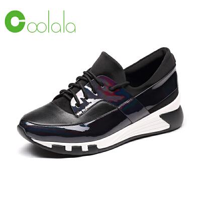红蜻蜓coolala秋季新款牛皮鞋子女款真皮休闲运动鞋厚底板鞋