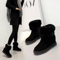 雪地靴女2018冬季新款内增高短靴女厚底防滑学生靴加绒保暖棉鞋女 黑色