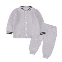 宝宝季厚款男童女童毛衣儿童线衣纯棉套装提花开衫婴儿针织衫 灰色 纯灰色偏小(开档)
