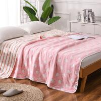 君别夏季加厚毯子毛巾被单人双人纱布1.2m儿童婴儿毯空调毯午睡毯1.5米 六层纱布 羊驼粉