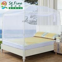富安娜家纺 圣之花 蚊帐 床上用品 可折叠 三开门 蒙古包 春雨 白色 1.8m床尺寸