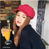 帽子 贝雷帽 八角帽 韩国帽子女士麂皮绒鸭舌画家帽英伦复古八角帽报童帽韩版潮帽