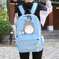 帆布双肩包日韩版简约女学院风高中学生书包女大容量休闲旅行背包