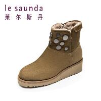 莱尔斯丹 秋冬新款休闲羊毛保暖加绒加厚雪地靴短靴48701