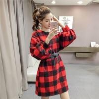 毛呢连衣裙秋冬女韩版chic风宽松显瘦灯笼袖格子裙时尚短裙送腰带
