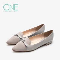 CNE2019春夏季新品船鞋温柔鞋尖头蝴蝶结奶奶鞋女单鞋AM19616
