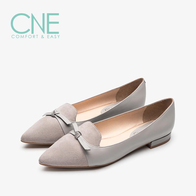 CNE2019春夏季新品船鞋温柔鞋尖头蝴蝶结奶奶鞋女单鞋AM19616 尖头蝴蝶结奶奶鞋女单鞋