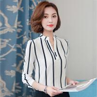 衬衫 女士V领加绒加厚长袖条纹衬衫2019年冬季新款韩版时尚潮流女式修身洋气女装打底衫