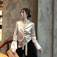 春季新款复古优雅色系不规则腰部绑带设计气质西装领长袖衬衣女 均码
