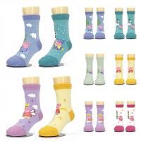 2017秋新款1-3-5-8岁男女儿童小猪佩奇乔治卡通中直筒棉袜子