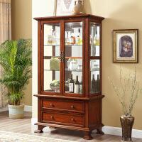 酒柜 实木 全实木美式全客厅家具 欧式展示柜家用电视柜边柜 双门