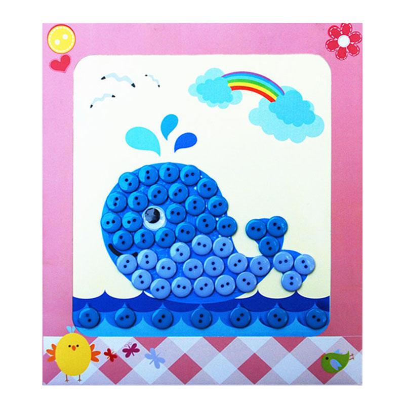 梦童工坊 diy纽扣画 儿童手工制作钮扣子幼儿园粘贴画装饰画玩具_鲸鱼