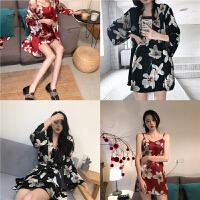 复古风花朵印花日式睡袍外套+修身吊带裙睡衣两件套装性感居家服 均码