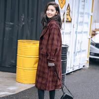 复古格子毛呢大衣女韩版中长款千鸟格妮子外套学生国茧 暗红格