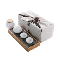 便捷茶具创意小茶盘一体式户外办公室家用旅行式现代简约新款整套套装 西施壶旅行茶具套装 6件