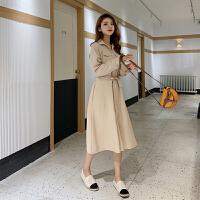 连衣裙 女士翻领系带单排扣中长款连衣裙2020年秋季新款韩版时尚潮流女式休闲显瘦女装A字裙