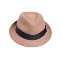 秋冬毛呢平沿爵士帽女英伦红色小礼帽百搭羊毛小檐毡帽