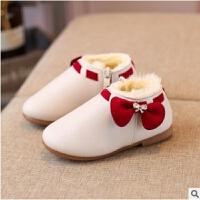 季女宝宝雪地靴1-2-3岁软底小童棉鞋女童公主短靴加绒保暖靴子 米白色 26码内长16厘米