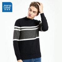 [满99减10元/满199减30元]真维斯针织衫男冬装新款男士韩版半高领修身爸爸毛衣