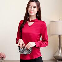衬衫 女士镂空V领加绒加厚长袖衬衫2019年冬季新款韩版时尚潮流女式宽松洋气女装打底衫