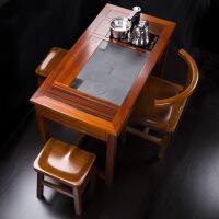功夫茶几客厅小茶桌木茶桌椅实木茶台泡茶桌功夫茶几小号新中式阳台茶桌功夫 整装