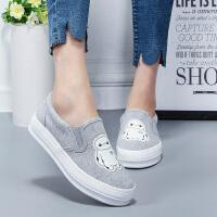 GFLA/杰飞乐大白款2016帆布鞋女平底低单鞋韩版学生鞋布鞋懒人鞋