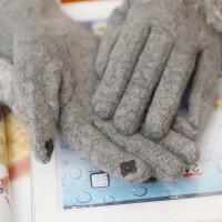羊毛手套女春秋冬季可爱时尚韩版蝴蝶结兔毛触摸屏保暖分指手套学生