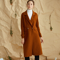 【3折到手价:540元】爱客流行双面呢大衣女秋冬韩版修身显瘦中长款过膝羊毛呢外套