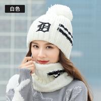 帽子女套头毛线帽子时尚韩版骑车针织帽护耳秋冬季保暖帽围巾