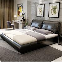 床双人床皮床婚床皮艺床软体床1.8米1.5米储物现代简约软包 +2个床头柜+3D乳胶床垫