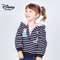 迪士尼宝宝欢乐颂女童针织毛圈连帽棉服2018冬款上新