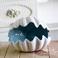 客厅摆件欧式装饰品陶瓷贝壳烟灰缸地中海创意家居摆设卧室工艺品