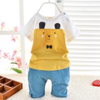 夏季中小童短袖套装 领结小熊儿童短袖短裤两件套 可开裆