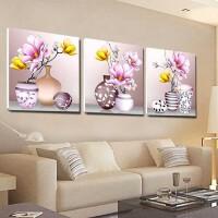 线绣小幅十字绣三联画客厅 新款十字绣卧室简约现代花卉花瓶餐厅