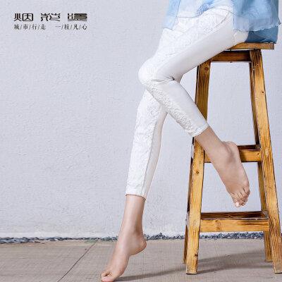 年货节满200-100 烟花烫 2018春季新品女装修身蕾丝九分小脚裤打底裤 如诉