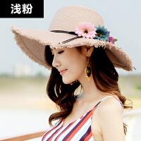 太阳帽女夏时尚遮阳帽防晒草帽可折叠沙滩帽女大沿帽海滩度假旅游