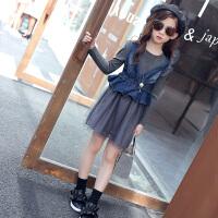 女童长袖连衣裙两件套牛仔纱裙套装新款韩版儿童裙女孩公主裙子潮