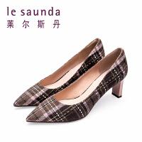 【顺丰包邮,大牌价:399】莱尔斯丹 春季新款尖头格子法式高跟粗跟女单鞋 9T66901