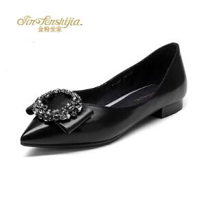 金粉世家 红蜻蜓旗下 秋季新品平底鞋真皮浅口蝴蝶低跟通勤单鞋