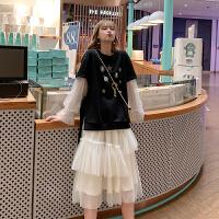 MG小象网纱半身裙女2019新款韩版秋季不规则气质显瘦学生仙女裙子