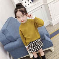 女童针织毛衣萌朵熙新款韩版女孩童装纯色套头假两件宝宝打底毛衣 黄色口假两件毛衣