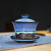 盖碗茶杯单个泡茶大号紫砂陶瓷窑变建盏功夫茶具手抓壶 窑变紫砂三才盖碗