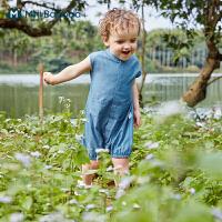 迷你巴拉巴拉新生婴儿连体衣2021夏装男童宝宝时尚洋气连体衣爬服