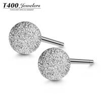 T400S925银耳环韩国 气质 防过敏简约甜美圆球耳饰品点爱  8658