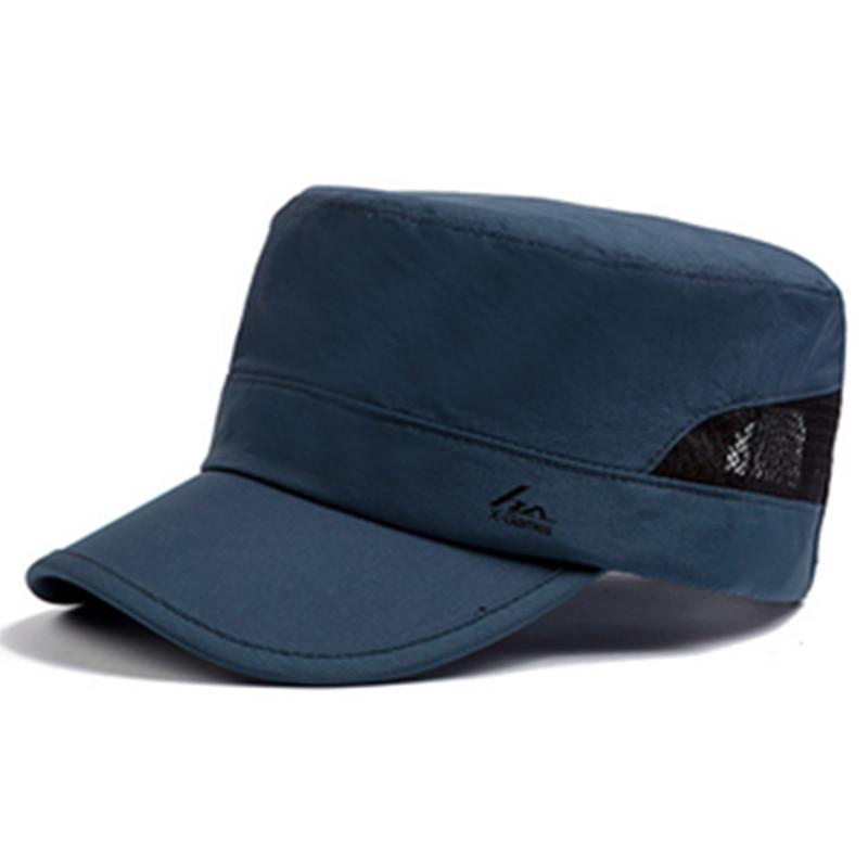 男士帽子夏天 春秋透气遮阳帽军帽平顶帽棒球帽鸭舌帽户外运动帽 速干