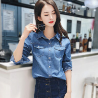 牛仔衬衫女长袖2018春装 韩版休闲外套韩范学生衬衣女上衣