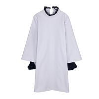 秋冬新款女2018韩版时尚甜美气质立领网纱拼接假两件套呢子连衣裙