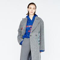 DAZZLE地素 17冬专柜新款 刺绣长款羊毛大衣毛呢外套 2A4G2071E